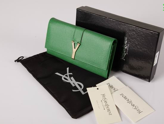 2012 Cheap Yves Saint Laurent Y Clutch in Green Leather,YSL Bags