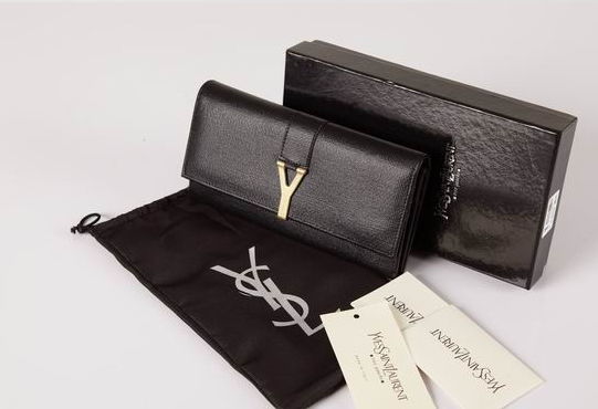 2012 Cheap Yves Saint Laurent Y Clutch in Black Leather,YSL Bags