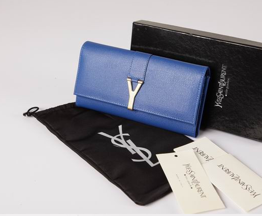 2012 Cheap Yves Saint Laurent Y Clutch in blue Leather,YSL Bags