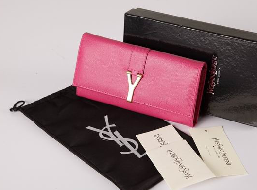 2012 Cheap Yves Saint Laurent Y Clutch in pink Leather,YSL Bags