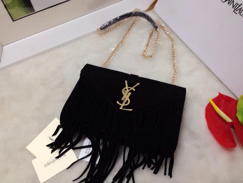 2015 New Saint Laurent Bag Cheap Sale- Saint Laurent Classic small MONOGRAM SAINT LAURENT fringed satchel in Black Suede