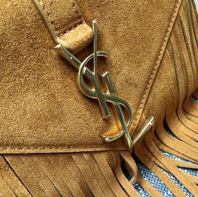 2015 New Saint Laurent Bag Cheap Sale- Saint Laurent Classic small Monogram Fringed Satchel in Brown Suede Leather