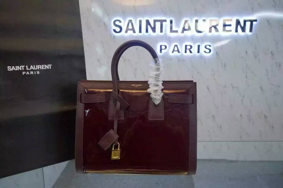 F/W 2015 New Saint Laurent Bag Cheap Sale-Saint Laurent Large SAC DE JOUR Bag in Burgundy Patent Leather