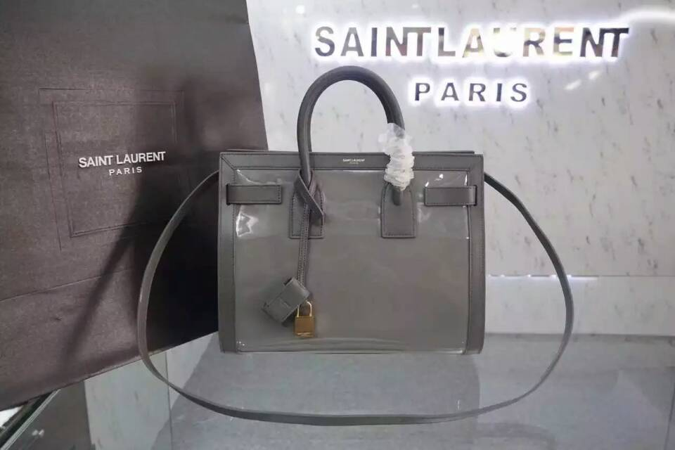 F/W 2015 New Saint Laurent Bag Cheap Sale-Saint Laurent Large SAC DE JOUR Bag in Grey Patent Leather