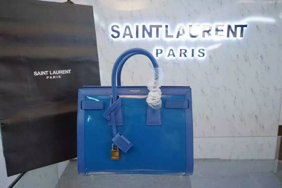 F/W 2015 New Saint Laurent Bag Cheap Sale-Saint Laurent Large SAC DE JOUR Bag in Lake Blue Patent Leather