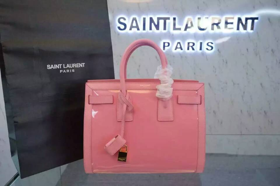 F/W 2015 New Saint Laurent Bag Cheap Sale-Saint Laurent Large SAC DE JOUR Bag in Pink Patent Leather