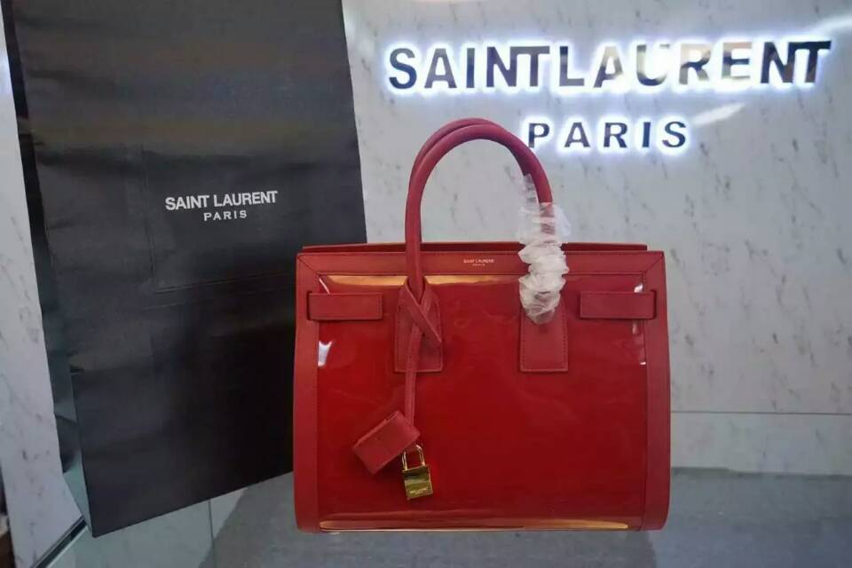 F/W 2015 New Saint Laurent Bag Cheap Sale-Saint Laurent Large SAC DE JOUR Bag in Red Patent Leather