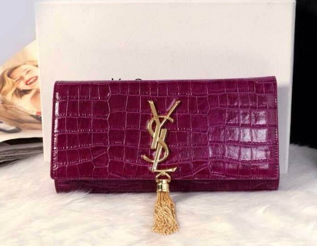 12014 Cheap Ysl clutch crocdile in purple,ysl wallet sale