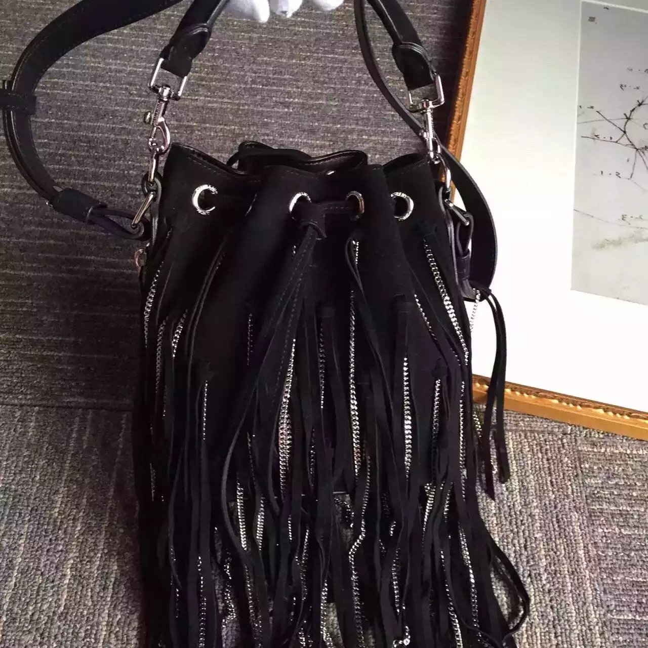 2016 New Saint Laurent Bag Cheap Sale-Saint Laurent Small Black Emmanuelle Bucket Bag with Black Suede Fringe