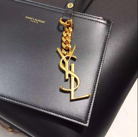 2015 New Saint Laurent Bag Cheap Sale-Saint Laurent Classic Monogram Shopping Bag in Black Smooth Calfskin with Black Lining - Click Image to Close