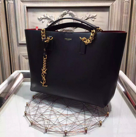 2015 New Saint Laurent Bag Cheap Sale-Saint Laurent Classic Monogram Shopping Bag in Black Smooth Calfskin with Red Lining