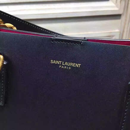 2015 New Saint Laurent Bag Cheap Sale-Saint Laurent Classic Monogram Shopping Bag in Black Smooth Calfskin with Rose Lining