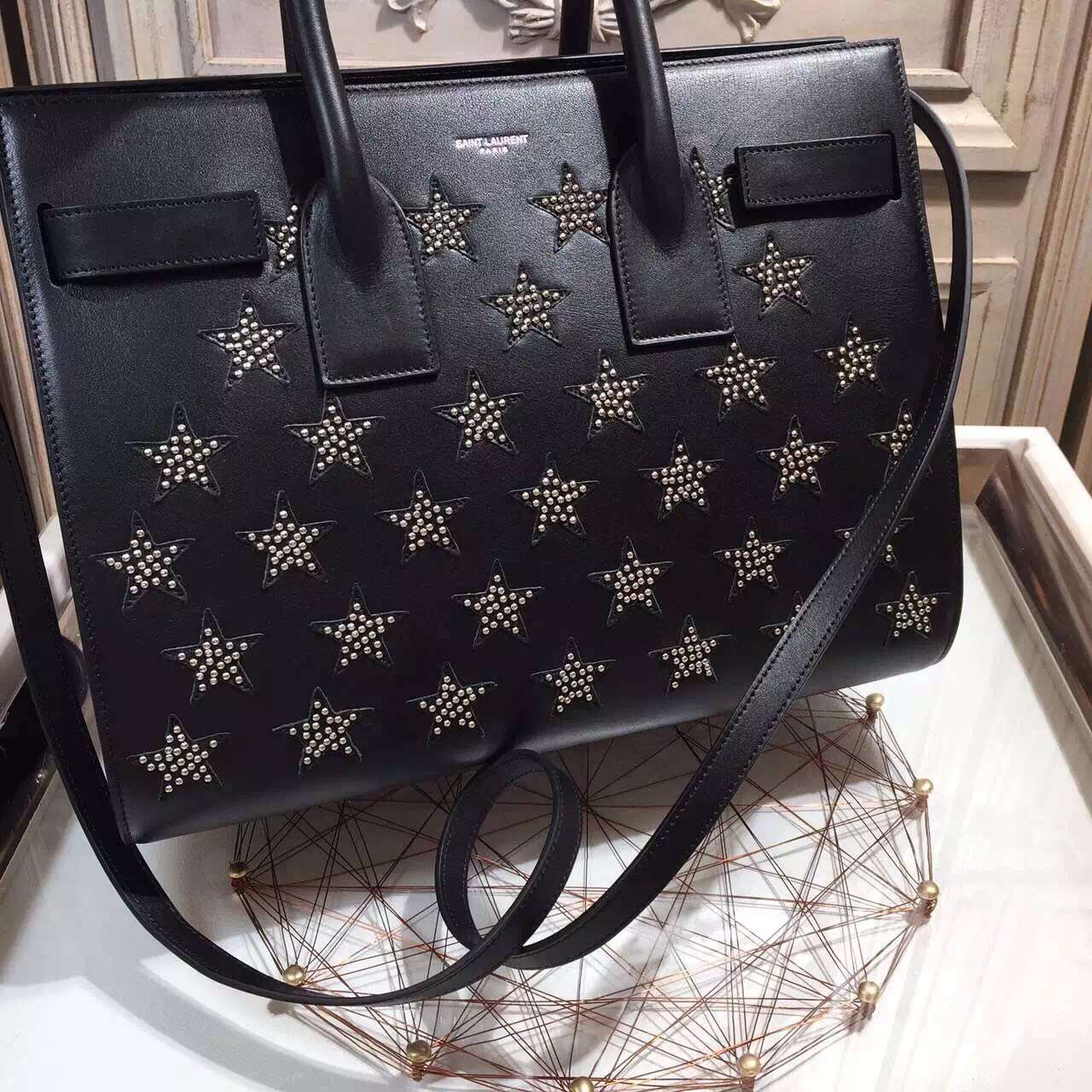 2015 New Saint Laurent Bag Cheap Sale-Saint Laurent Classic 32cm Sac De Jour Bag in Black Calf Leather with Star Studs