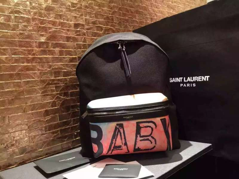 2016 Saint Laurent Bags Cheap Sale-Saint Laurent Classic Hunting Monogram California Backpack in Black Printed Nython and Leather NO7780137