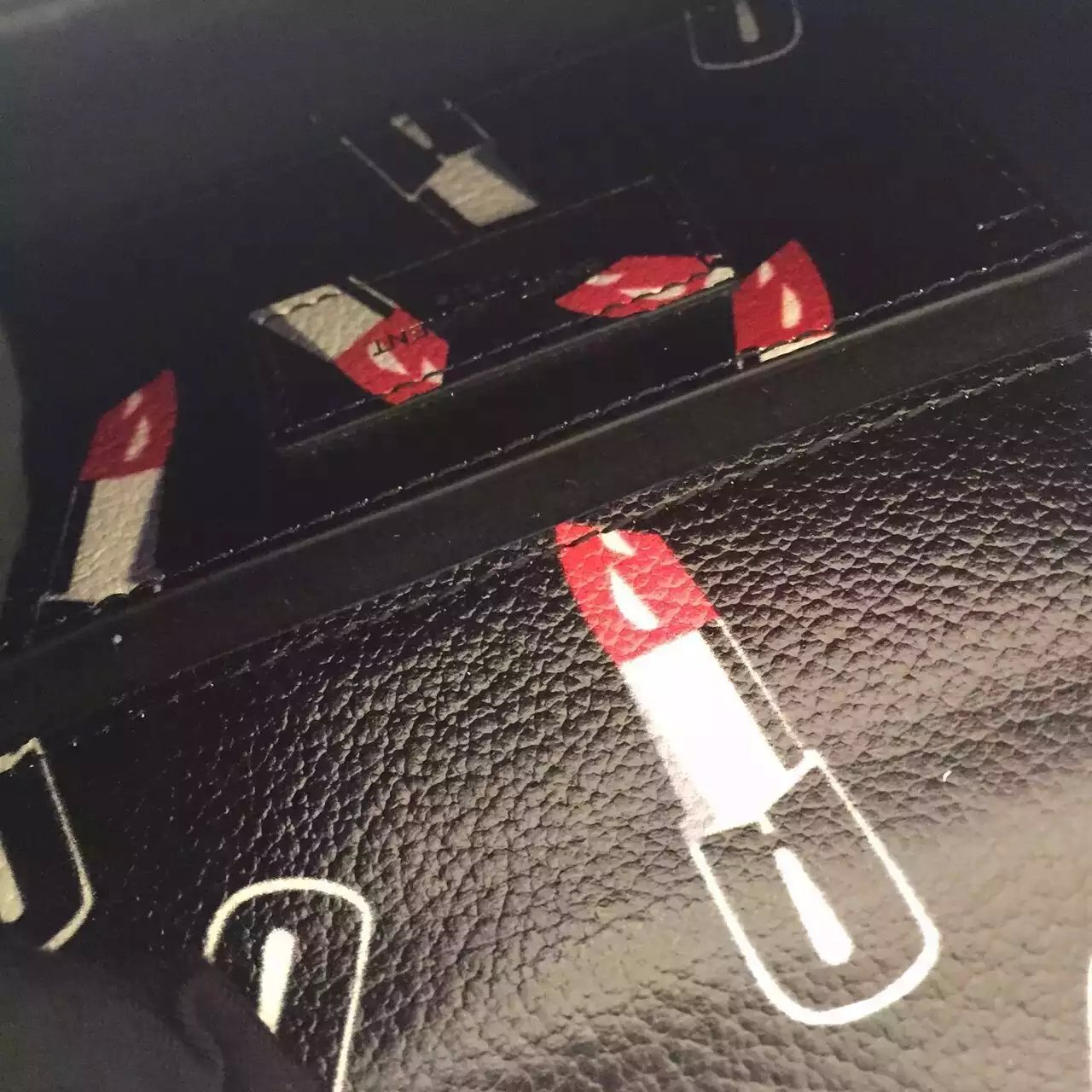 2015 New Saint Laurent Bag Cheap Sale-Saint Laurent Classic Monogram Satchel in Black,Red and White Lipstick Printed Leather