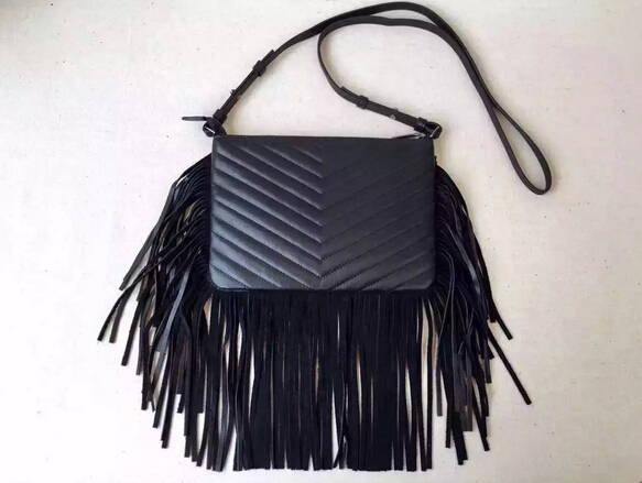 2015 New Saint Laurent Bag Cheap Sale-Saint Laurent Small Monogram Fringed Crossbody Bag in Black Matelasse Leather - Click Image to Close