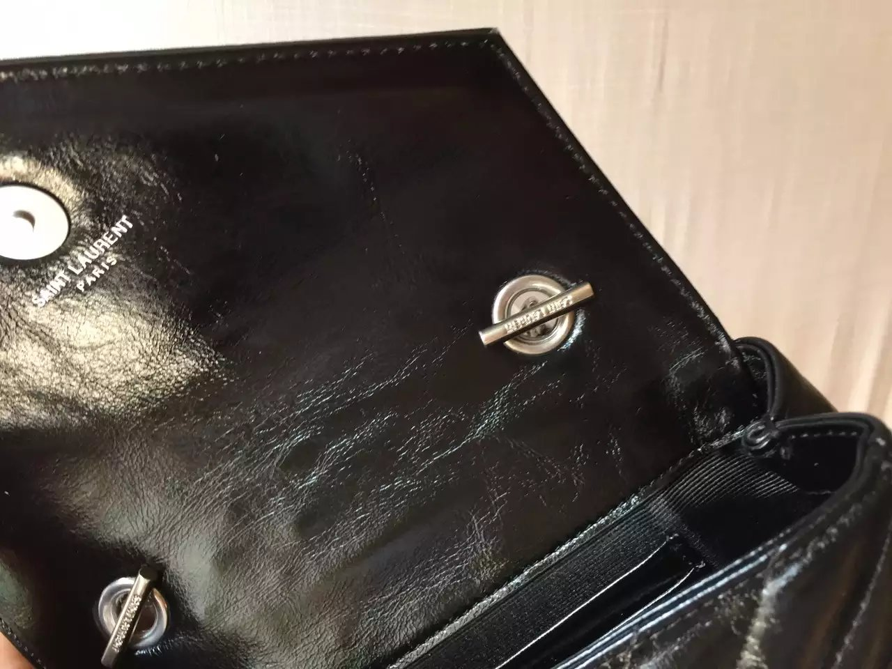 2016 Cheap YSL Out Sale with Free Shipping-Saint Laurent Classic Medium Baby Monogram Satchel in Black Matelasse Leather with Silver Studs