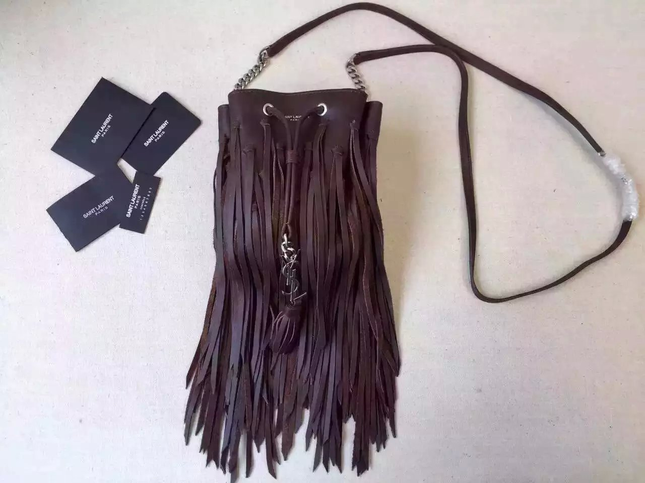 2015 New Saint Laurent Bag Cheap Sale-Saint Laurent Emmanuelle Fringed Bucket Bag in Bordeaux Leather