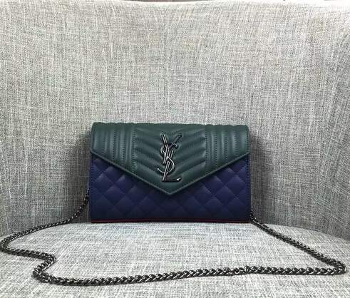 Saint Laurent on sale 2016-New Saint Laurent clutch wallet green+blue