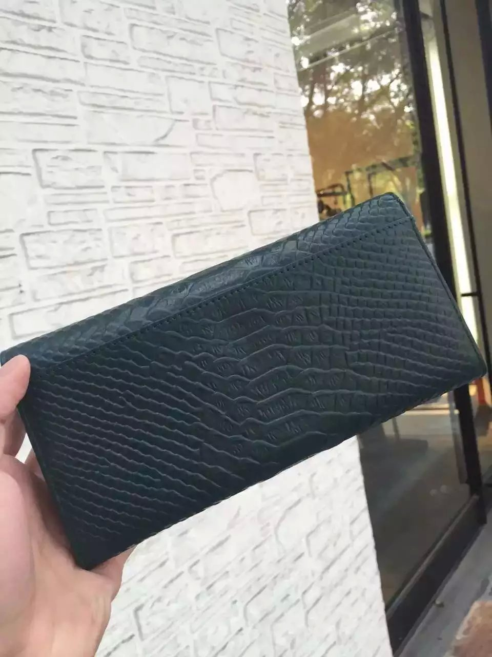 2016 Saint Laurent Bags Cheap Sale-Saint Laurent Classic Monogram Clutch in Atrovirens Python Embossed Calfskin Leather