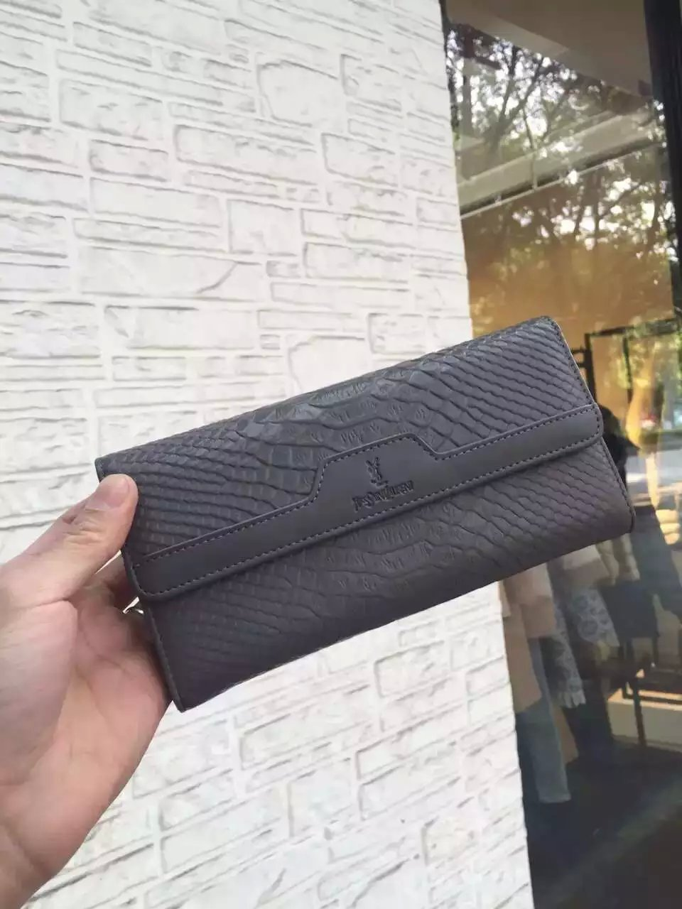 2016 Saint Laurent Bags Cheap Sale-Saint Laurent Classic Monogram Clutch in Dark Grey Python Embossed Calfskin Leather