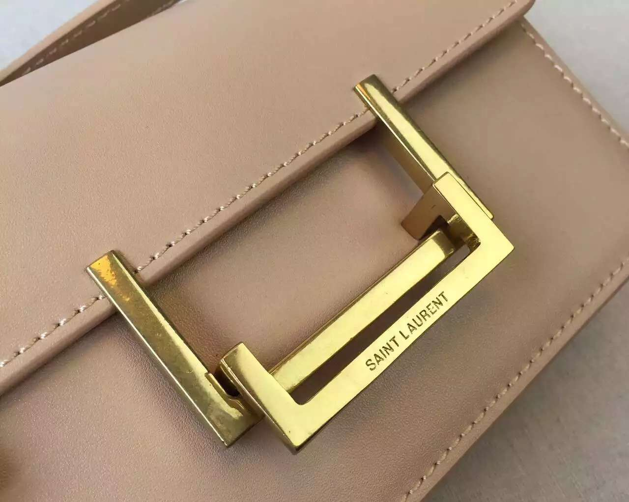 2015 Cheap YSL Out-Sale with Free Shipping-Saint Laurent Classic Small Lulu Leather Bag in Apricot Calfskin Leather