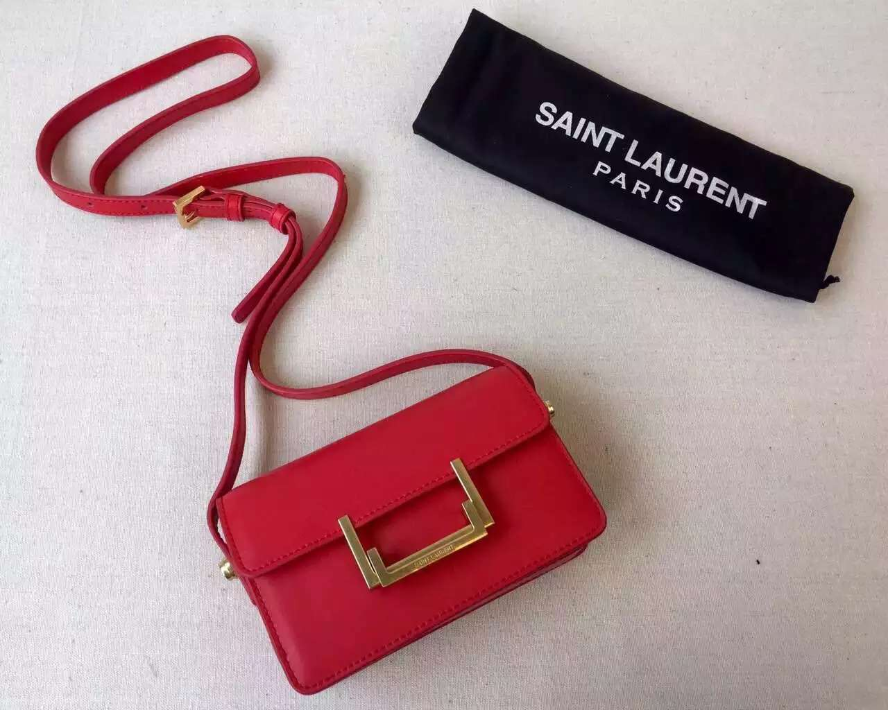 2015 Cheap YSL Out-Sale with Free Shipping-Saint Laurent Classic Small Lulu Leather Bag in Red Calfskin Leather