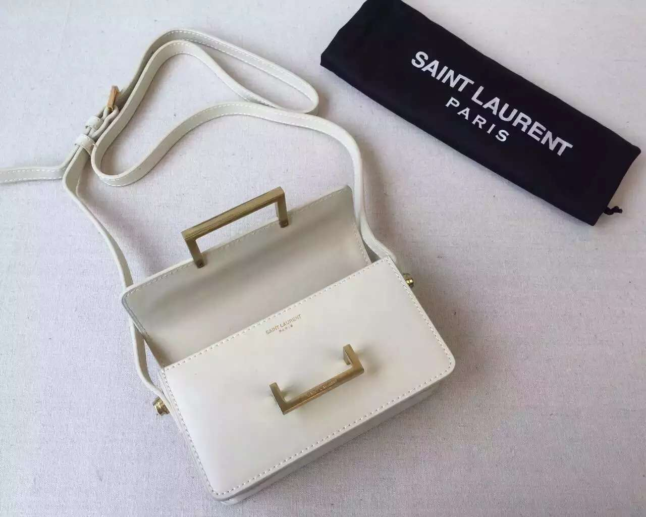 2015 Cheap YSL Out-Sale with Free Shipping-Saint Laurent Classic Small Lulu Leather Bag in white Calfskin Leather