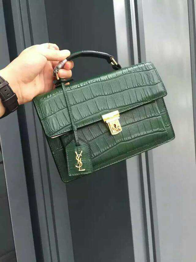 Spring 2016 Saint Laurent Bag Cheap Sale-Saint Laurent Medium High School Satchel in Green Embossed Calfskin Leather