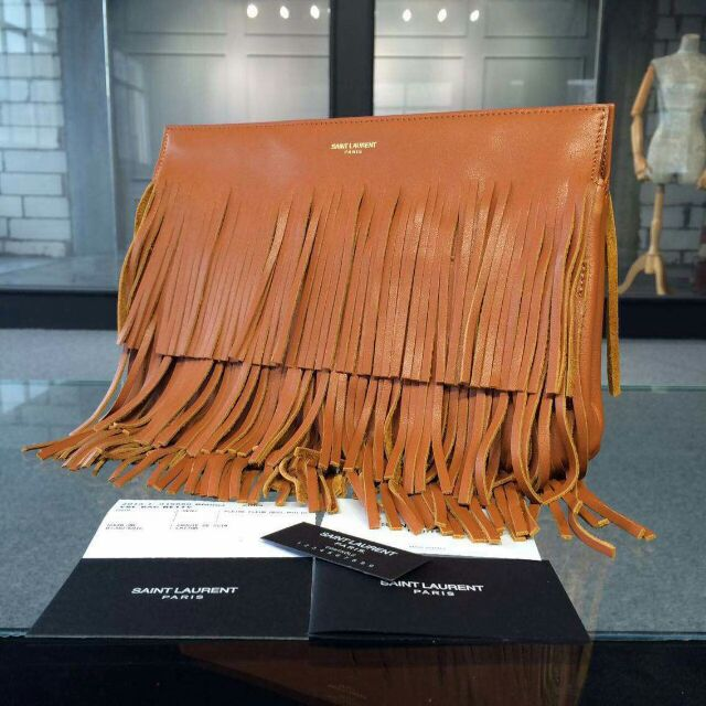 YSL 2015 Fashion Show Collection Outlet-Saint Laurent Clutch in Khaki Calfskin Leather with Fringe