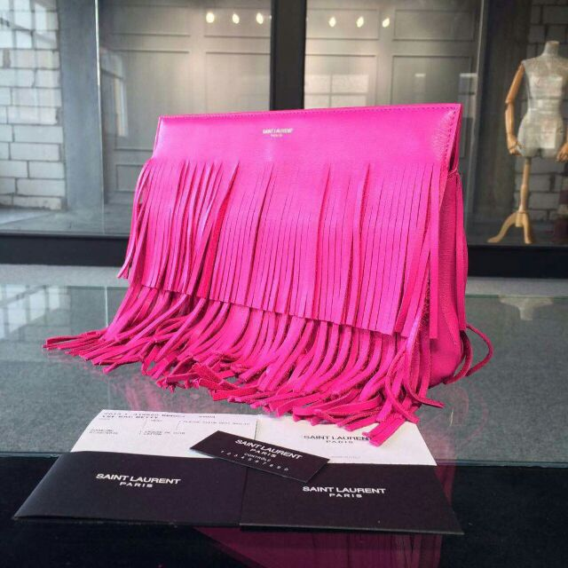 YSL 2015 Fashion Show Collection Outlet-Saint Laurent Clutch in Lipstick Fuchsia Calfskin Leather with Fringe
