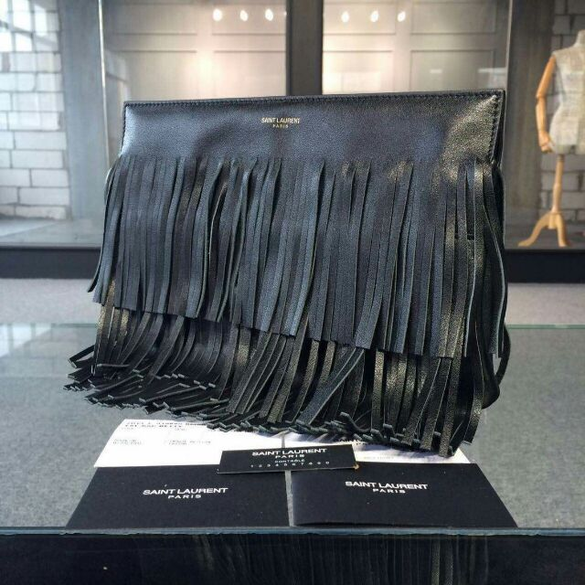 YSL 2015 Fashion Show Collection Outlet-Saint Laurent Clutch in Black Calfskin Leather with Fringe