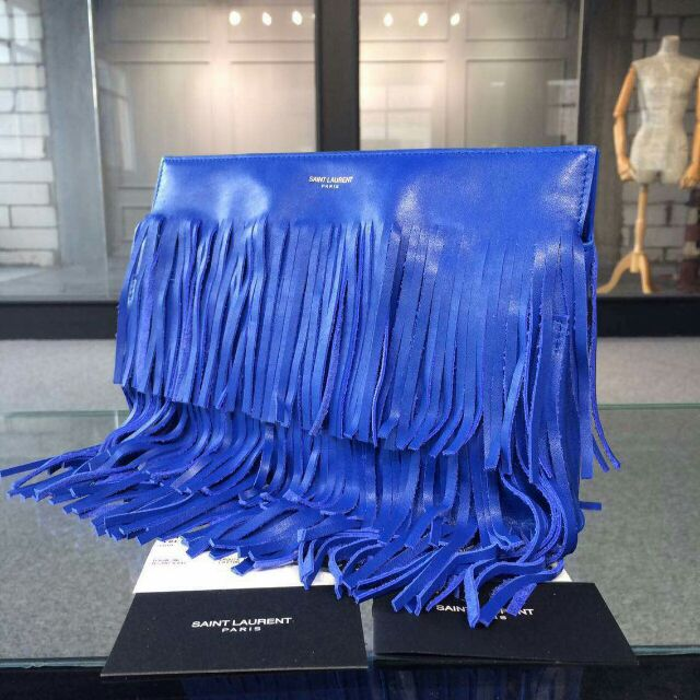 YSL 2015 Fashion Show Collection Outlet-Saint Laurent Clutch in Royal Blue Calfskin Leather with Fringe