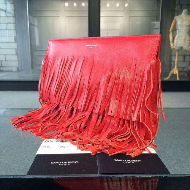 YSL 2015 Fashion Show Collection Outlet-Saint Laurent Clutch in Red Calfskin Leather with Fringe