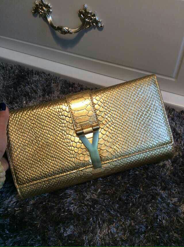 2015 New Saint Laurent Bag Cheap Sale-Saint Laurent Classic Y Clutch in Golden Embossed Snack Leather