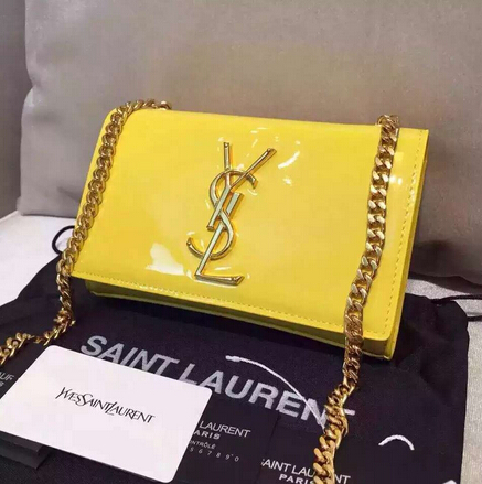 2015 New Saint Laurent Bag Cheap Sale-Saint Laurent Classic Monogram Saint Laurent Satchel in Lemon Patent Leather