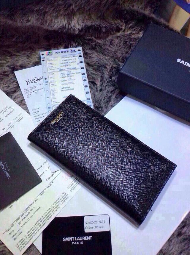 2015 New YSL Bag Sale Online- Saint Laurent Vertical Folded Wallet in Black Grain Calfskin Leather