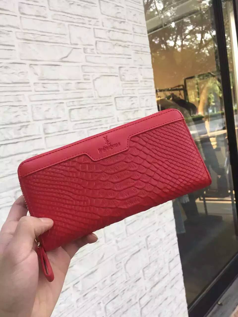 2016 Saint Laurent Bags Cheap Sale-Saint Laurent Zippy Around Wallet in Red Python Embossed Calfskin Leather