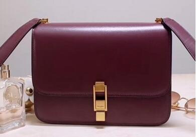 2020 Saint Laurent CARRE satchel in smooth leather burgundy
