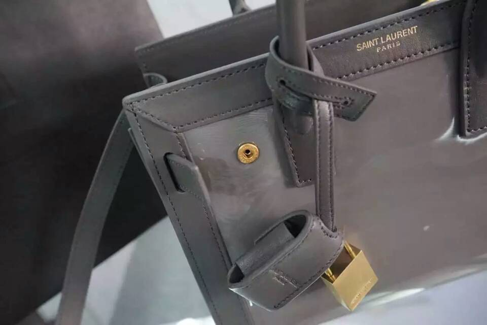 F/W 2015 New Saint Laurent Bag Cheap Sale-Saint Laurent Nano SAC DE JOUR Bag in Grey Patent Leather