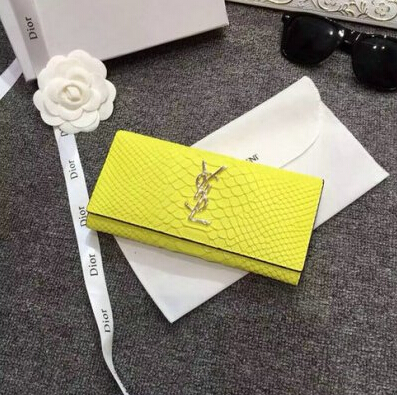2015 New Saint Laurent Bag Cheap Sale- Saint Laurent YSL Snake Leather Wallet in Yellow