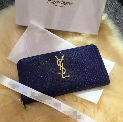 2015 New Saint Laurent Bag Cheap Sale- Saint Laurent YSL Zip Around Wallet in Blue Snake Leather