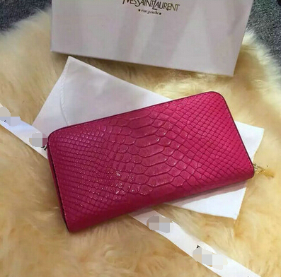 2015 New Saint Laurent Bag Cheap Sale- Saint Laurent YSL Zip Around Wallet in Rose Snake Leather