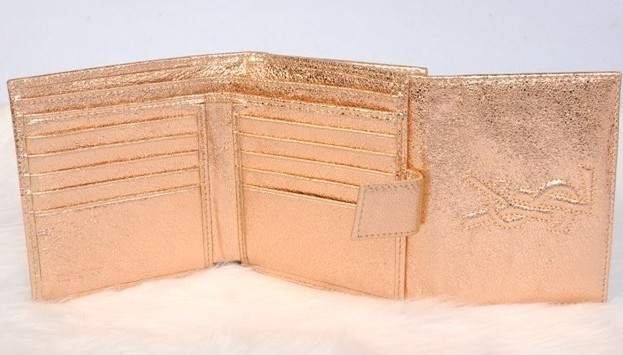 -2014 YSL Trifolded wallet in gold on sale