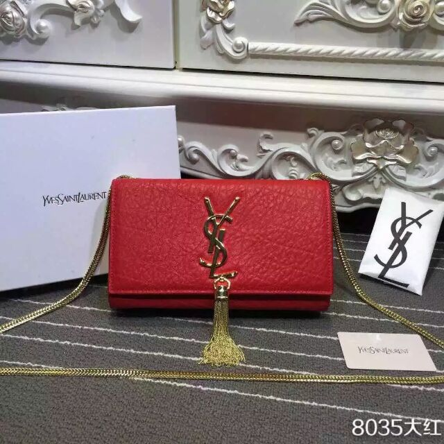 2015 New Saint Laurent Bag Cheap Sale- Classic Monogram Saint Laurent Tassel Satchel in Red Elephant Embossed Calf Leather