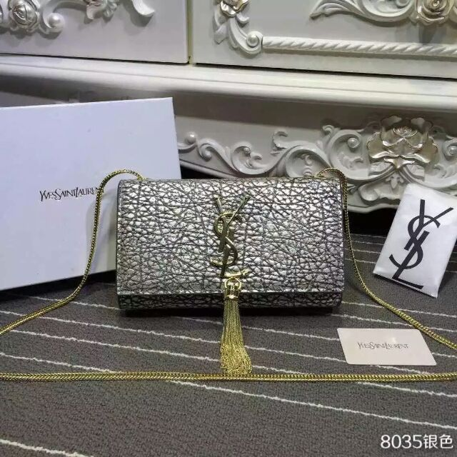 2015 New Saint Laurent Bag Cheap Sale- Classic Monogram Saint Laurent Tassel Satchel in Silver Elephant Embossed Calf Leather