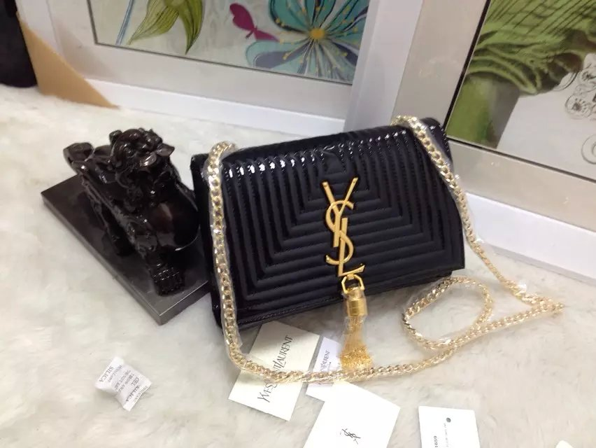 2015 New Saint Laurent Bag Cheap Sale-Classic Monogram Saint Laurent Tassel Satchel in Black Matelasse Patent Leather - Click Image to Close