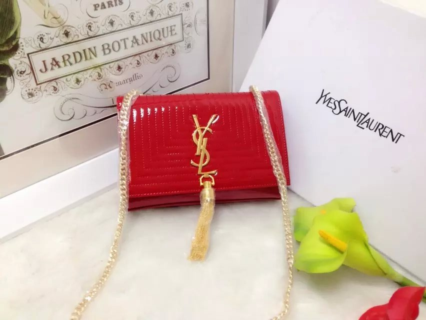 2015 New Saint Laurent Bag Cheap Sale-Classic Monogram Saint Laurent Tassel Satchel in Cherry Matelasse Patent Leather