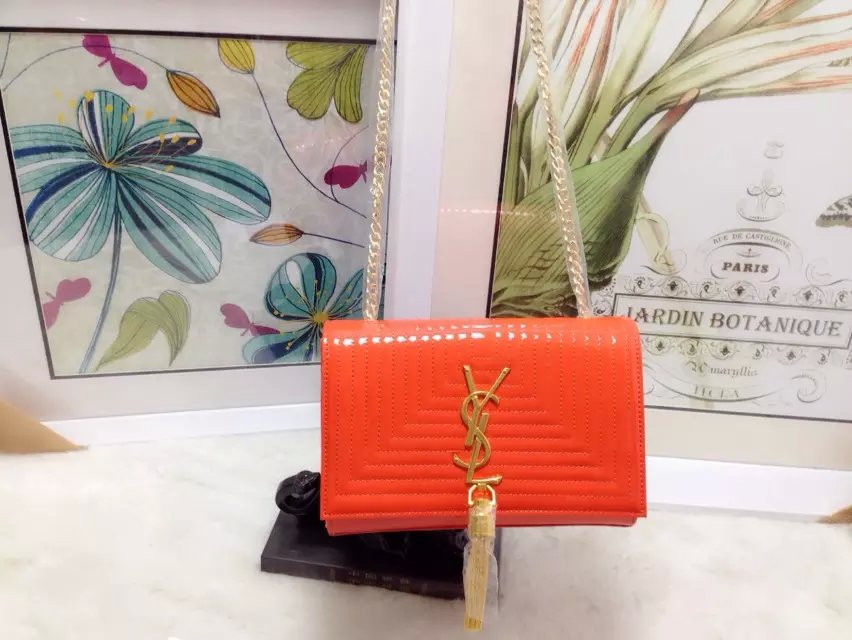 2015 New Saint Laurent Bag Cheap Sale-Classic Monogram Saint Laurent Tassel Satchel in Orange Matelasse Patent Leather