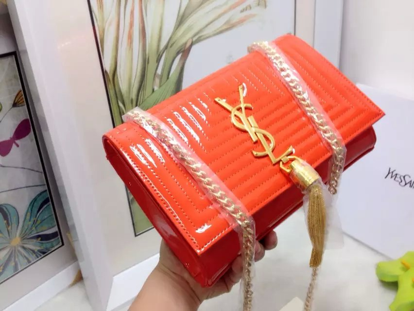 2015 New Saint Laurent Bag Cheap Sale-Classic Monogram Saint Laurent Tassel Satchel in Orange Matelasse Patent Leather - Click Image to Close